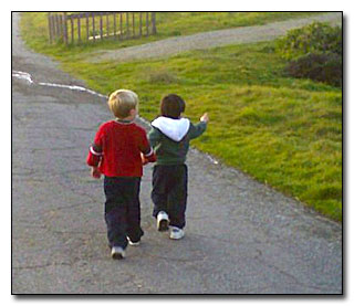 Boys walking.