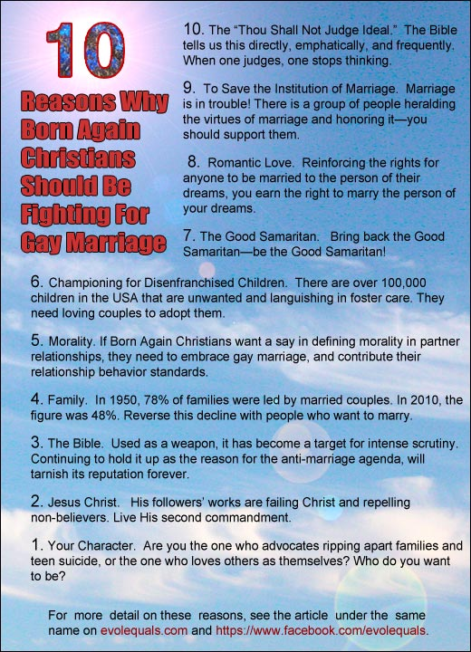 Ten Reasons Why Born Again Christians Should Be Fighting FOR Gay Marriage
