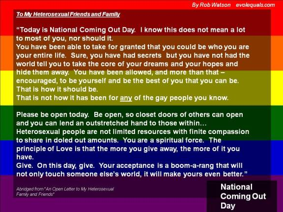 An Open Letter for National Coming Out Day….Abridged | evoL